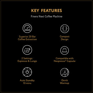 Finero Next Coffee Machine + Free 60 Capsules