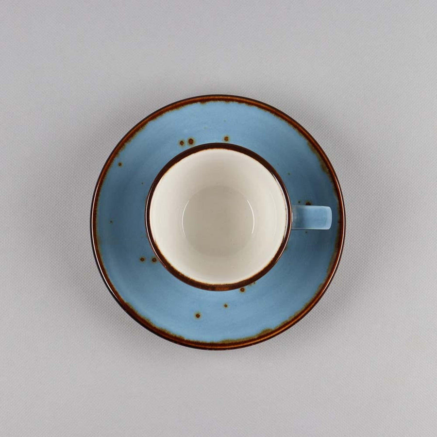 Espresso Cup & Saucer Set of 6, Porcelain, Blue