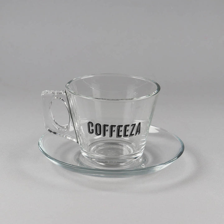 Coffeeza Cappuccino Cup & Saucer Set of 6, Paşabahçe Glassware, Made in Turkey