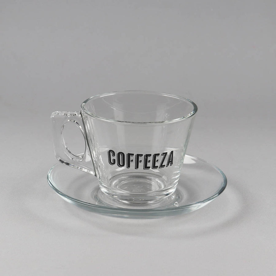 Coffeeza Cappuccino Cup & Saucer Set of 6, Glassware, Made in Turkey