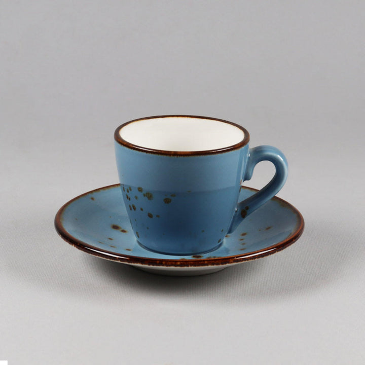 Cappuccino Cup & Saucer Set of 6, Ceramic Blue