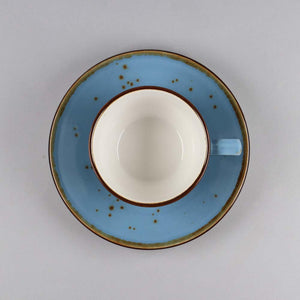 Cappuccino Cup & Saucer Set of 6, Porcelain, Blue