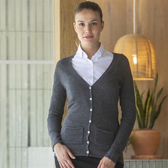 HB723 V neck Cardigan in Dark grey