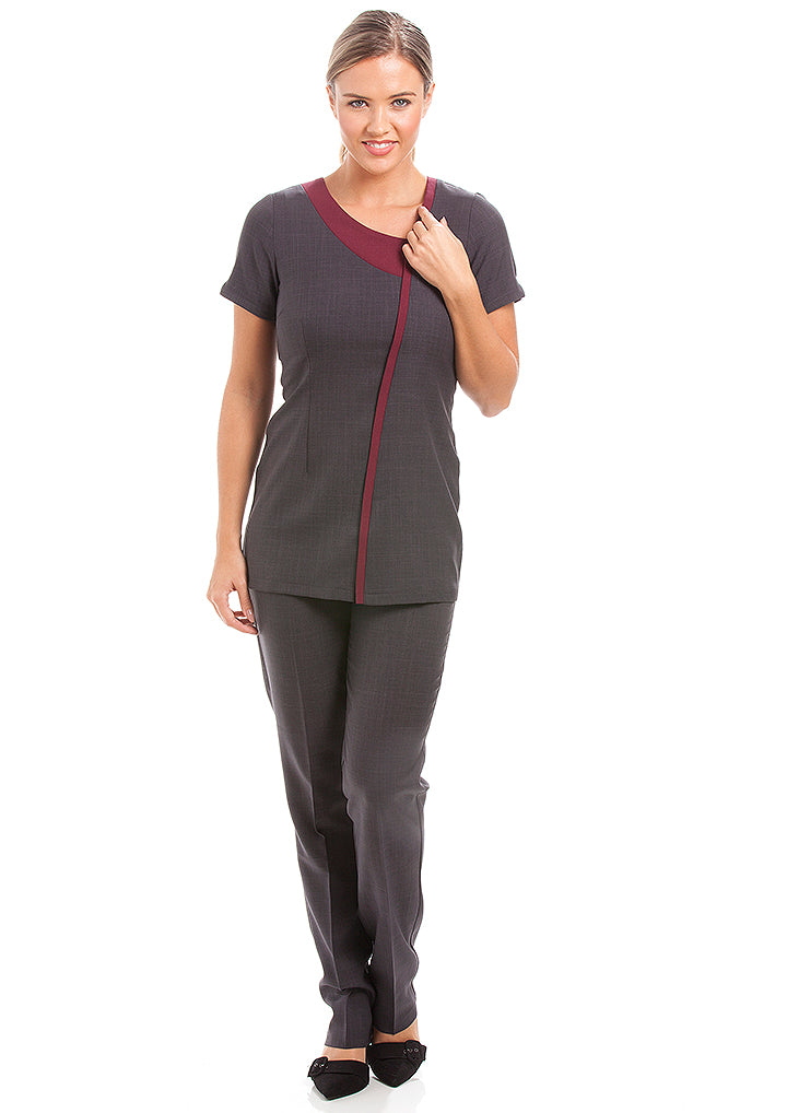 Havana Tunic Dark Grey/ Burgundy - Warrington & Vale