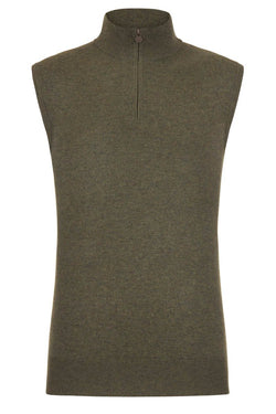 Bernard Weatherill Cashmere 1/4 Zip Gilet Thyme Savile Row Gentlemens Outfitters