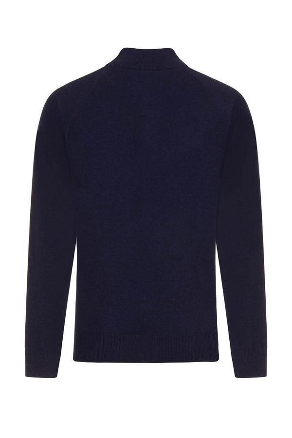 Bernard Weatherill Cashmere Button Neck Pullover Bright Navy Savile Row Gentlemens Outfitters