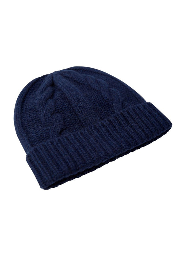 Bernard Weatherill Cashmere Cable Knit Beanie Bright Navy Savile Row Gentlemens Outfitters