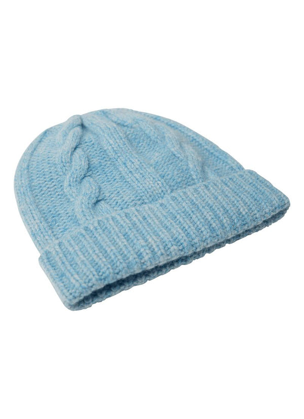 Bernard Weatherill Cashmere Cable Knit Beanie Harebell Savile Row Gentlemens Outfitters