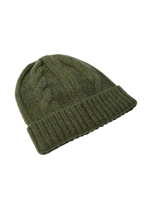 Bernard Weatherill Cashmere Cable Knit Beanie Thyme Savile Row Gentlemens Outfitters