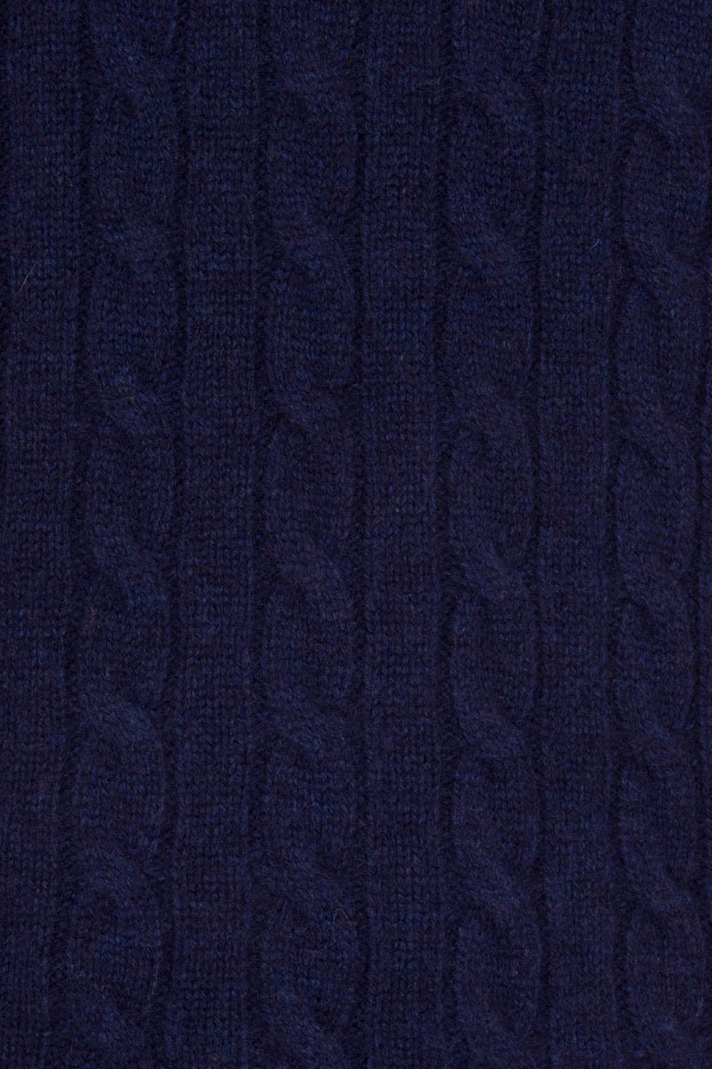 Bernard Weatherill Cashmere Cable Knit Crew Neck Bright Navy Savile Row Gentlemens Outfitters
