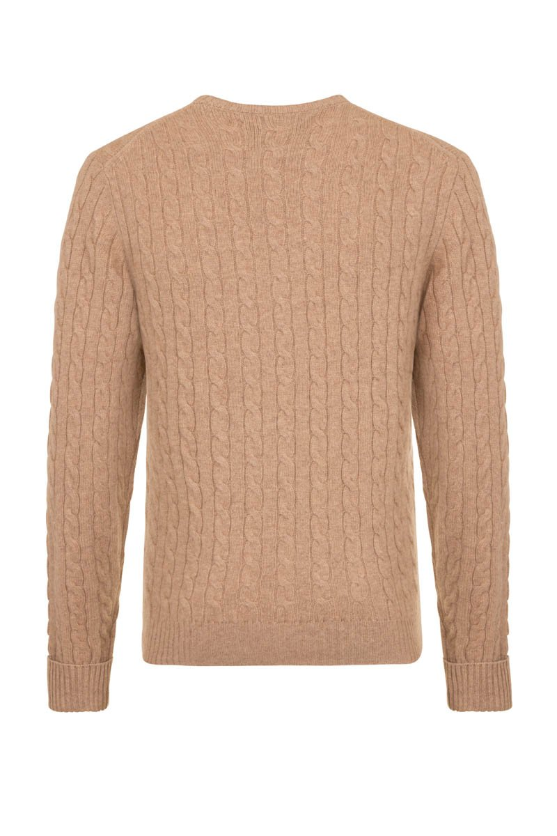 Bernard Weatherill Cashmere Cable Knit Crew Neck Crofter Savile Row Gentlemens Outfitters