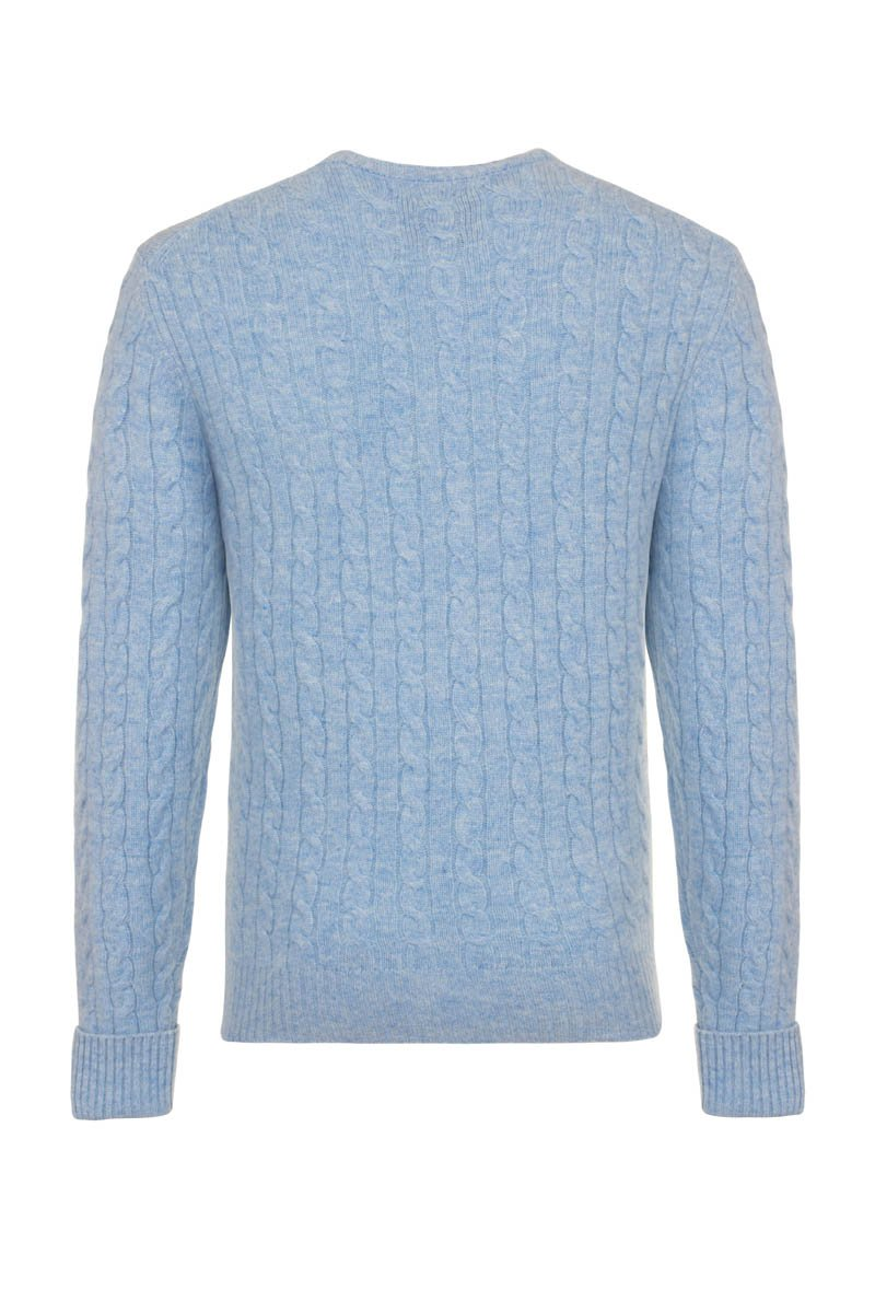 Bernard Weatherill Cashmere Cable Knit Crew Neck Harebell Savile Row Gentlemens Outfitters