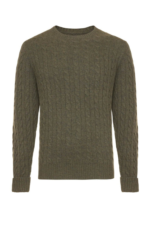 Bernard Weatherill Cashmere Cable Knit Crew Neck Thyme Savile Row Gentlemens Outfitters