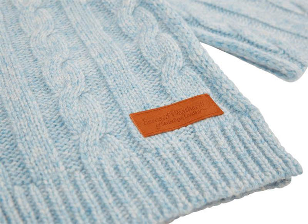 Bernard Weatherill Cashmere Cable Knit Scarf Harebell Savile Row Gentlemens Outfitters
