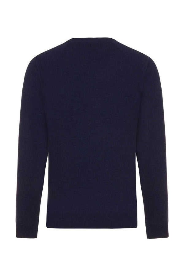 Bernard Weatherill Cashmere Crew Neck Bright Navy Savile Row Gentlemens Outfitters
