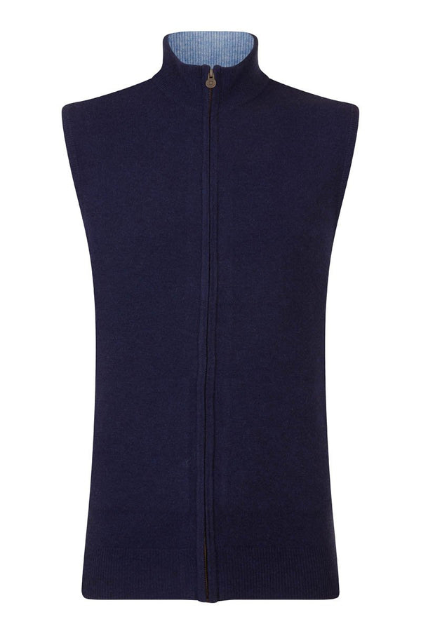 Bernard Weatherill Cashmere Full Zip Gilet Bright Navy Harebell Savile Row Gentlemens Outfitters