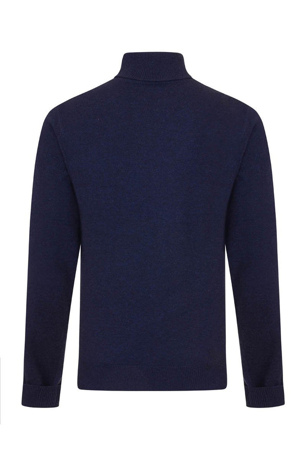 Bernard Weatherill Cashmere Roll Neck Bright Navy Savile Row Gentlemens Outfitters