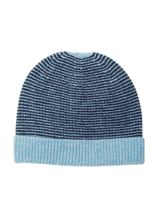 Bernard Weatherill Cashmere Stripe Beanie Harebell Bright Navy Savile Row Gentlemens Outfitters