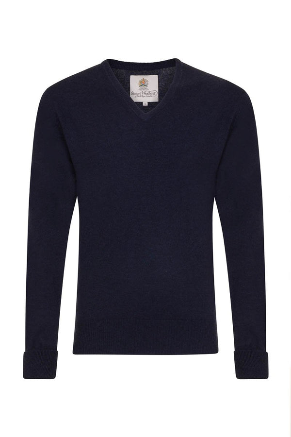 Bernard Weatherill Cashmere V-Neck Bright Navy Savile Row Gentlemens Outfitters