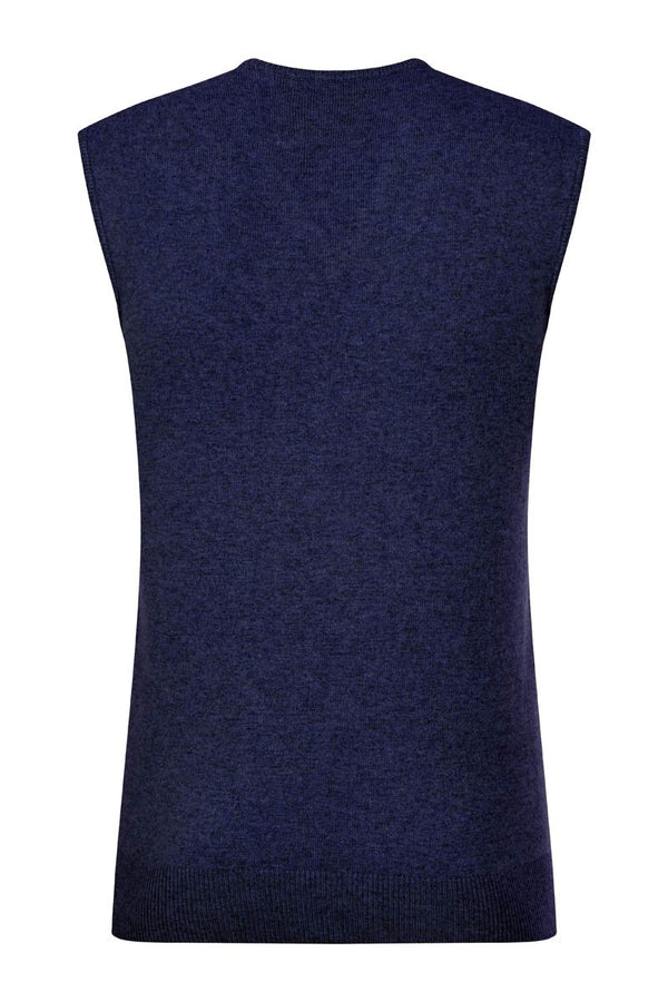 Bernard Weatherill Cashmere V-Neck Vest Bright Navy Savile Row Gentlemens Outfitters