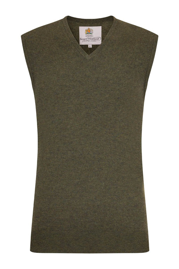 Bernard Weatherill Cashmere V-Neck Vest Thyme Savile Row Gentlemens Outfitters