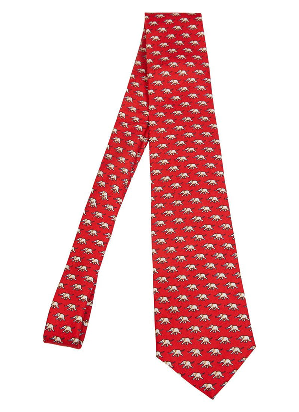 Bernard Weatherill Elephant Tie Red Cream Savile Row Gentlemens Outfitters