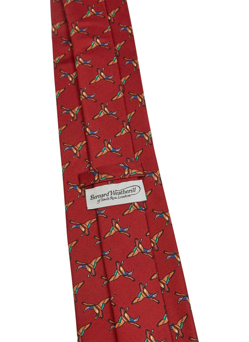 Bernard Weatherill Flying Ducks Tie Red Savile Row Gentlemens Outfitters