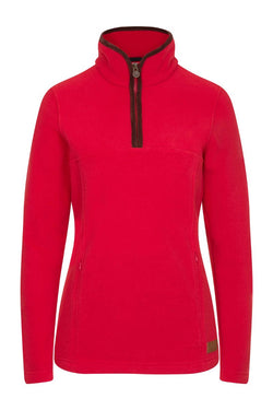 Bernard Weatherill Ladies Polartec 1/4 Zip Neck Fleece Red Savile Row Gentlemens Outfitters
