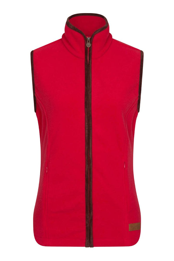 Bernard Weatherill Ladies Polartec Fleece Gilet Red Savile Row Gentlemens Outfitters
