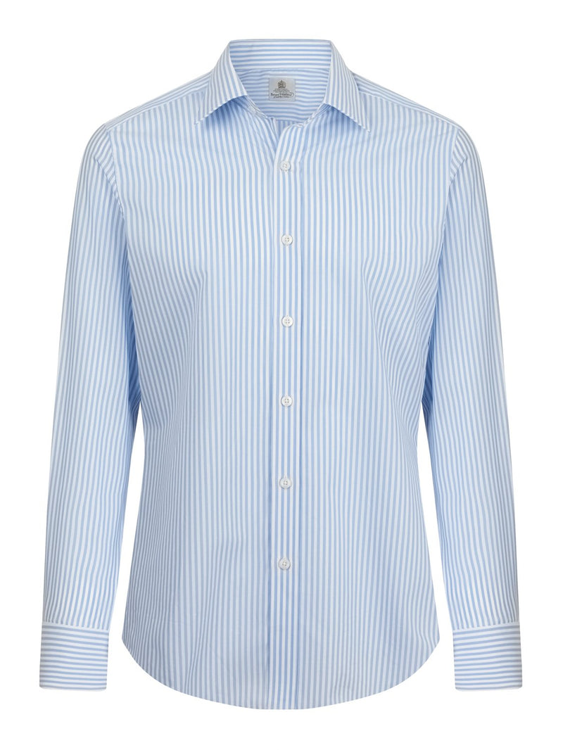 Bernard Weatherill Mens Classic Fit Stripe Shirt Blue White Savile Row Gentlemens Outfitters