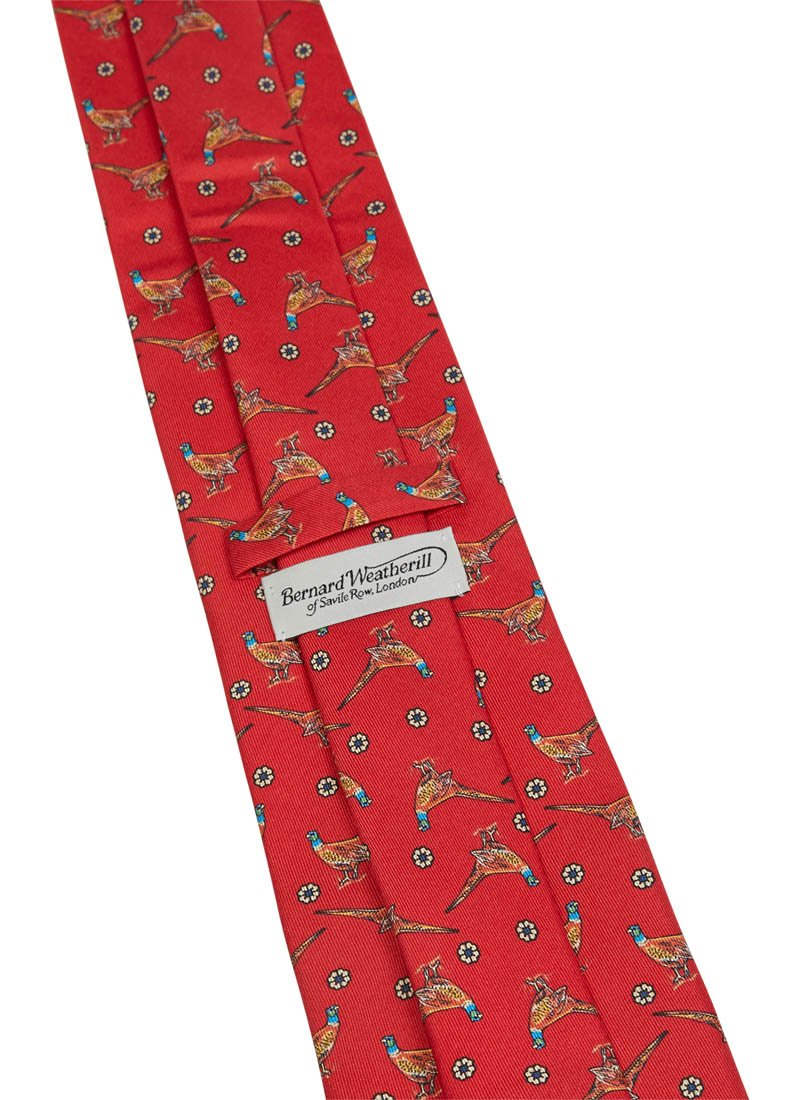 Bernard Weatherill Pheasant Flower Tie Red Savile Row Gentlemens Outfitters