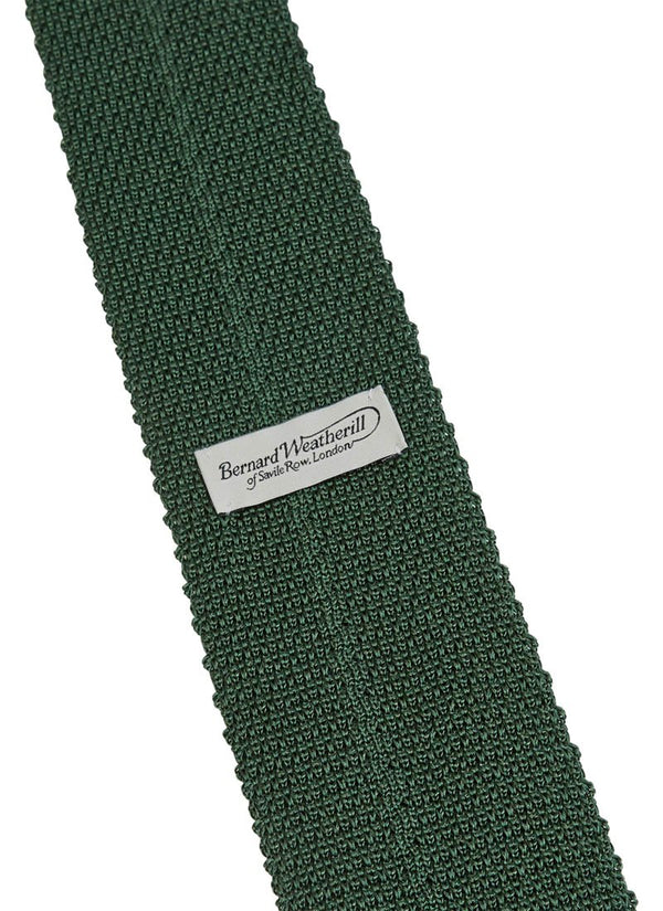 Bernard Weatherill Plain Knitted Silk Tie Olive Green Savile Row Gentlemens Outfitters