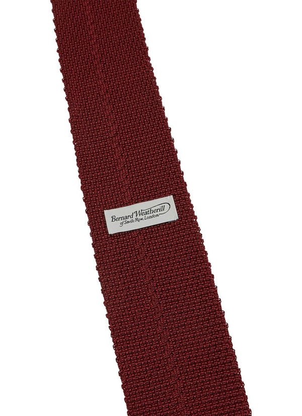 Bernard Weatherill Plain Knitted Silk Tie Wine Savile Row Gentlemens Outfitters