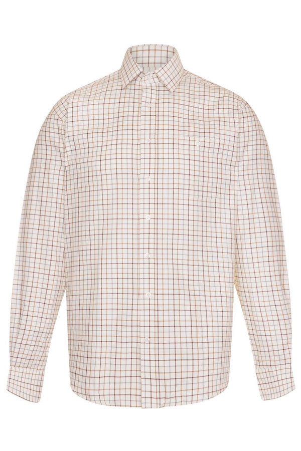 Bernard Weatherill Regular Collar Pocket Check Shirt Brown Tan Savile Row Gentlemens Outfitters