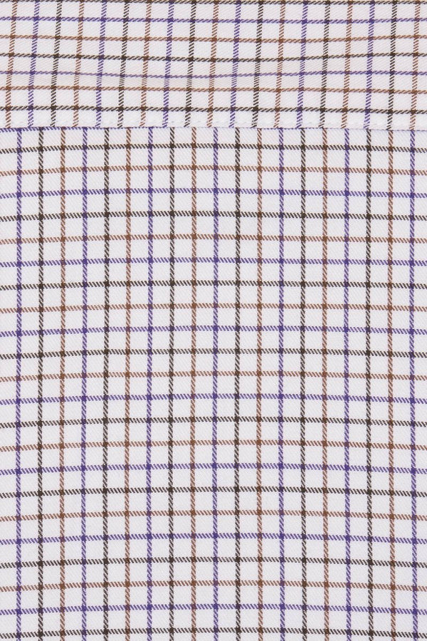 Bernard Weatherill Regular Collar Pocket Tattersal Shirt Navy Purple Savile Row Gentlemens Outfitters