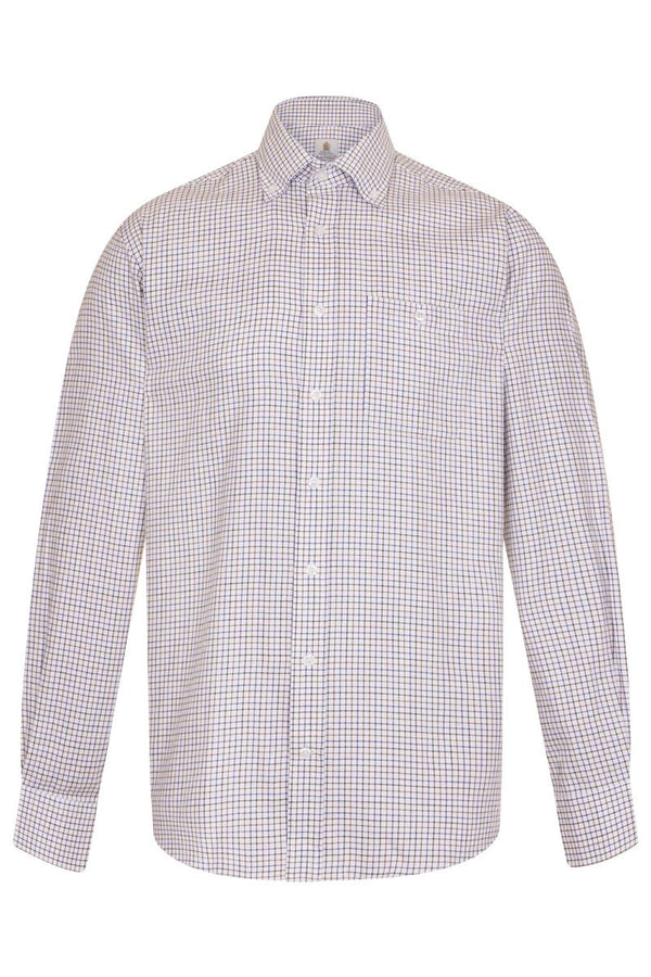 Bernard Weatherill Regular Fit Button Down Tattersal Shirt Navy Purple Savile Row Gentlemens Outfitters