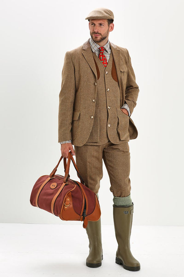 Bernard Weatherill Small Canvas Holdall Brown Mid Tan Savile Row Gentlemens Outfitters