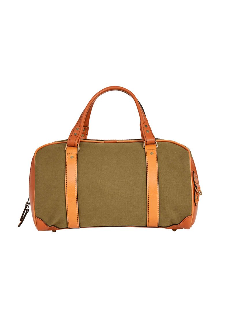 Bernard Weatherill Small Canvas Holdall Green Mid Tan Savile Row Gentlemens Outfitters