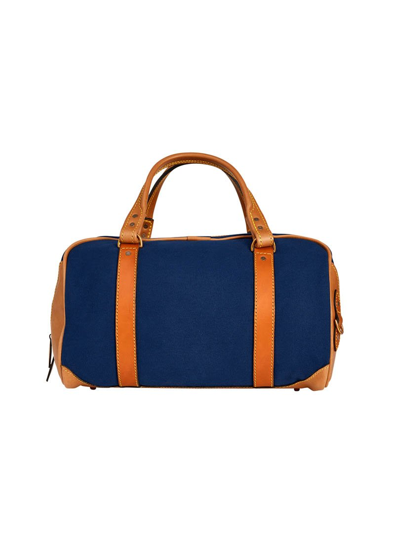 Bernard Weatherill Small Canvas Holdall Navy Mid Tan Savile Row Gentlemens Outfitters