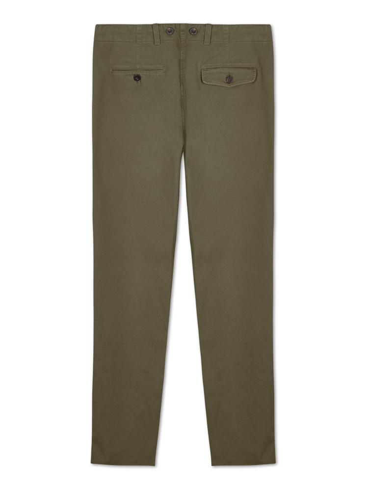 Bernard Weatherill Washed Cotton Chinos Green Savile Row Gentlemens Outfitters