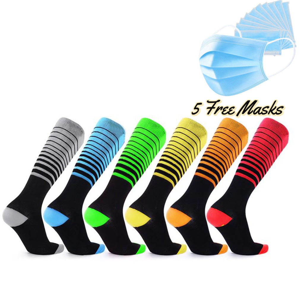 Compression Stripes Unisex Socks - 3 & 6 Pairs + Free 5 Disposable Mask