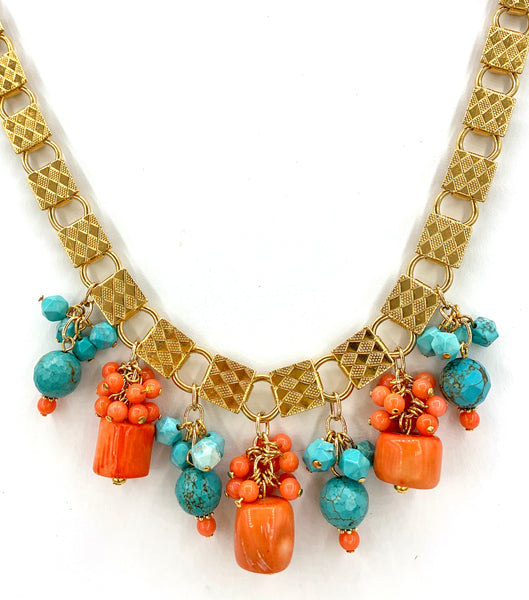 STATEMENT CORAL AND TURQUOISE GOLD HANDMADE NECKLACE