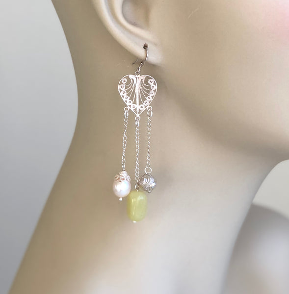 JADE AND PEARL STERLING SILVER HANDMADE CHANDELIER EARRINGS