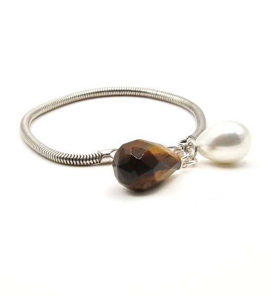 TIGER EYE GEMSTONE SILVER HANDMADE BRACELET