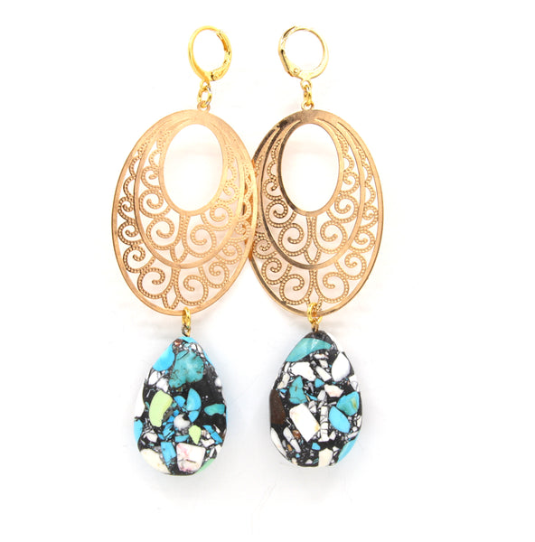TURQUOISE GEMSTONE GOLD HANDMADE EARRINGS