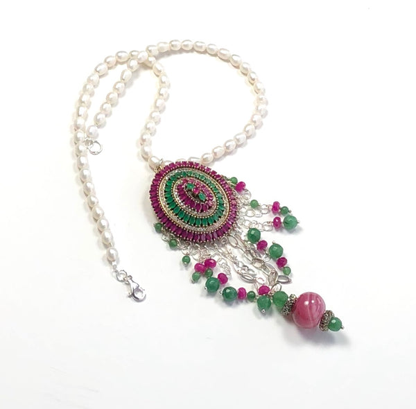 JADE GEMSTONES AND PEARL HANDMADE STATEMENT STERLING SILVER  NECKLACE
