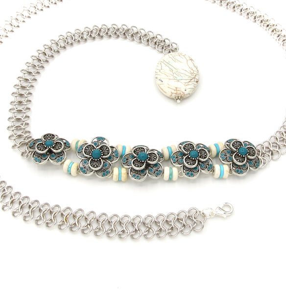 SILVER FLOWER HANDMADE WOMEN'S BELT