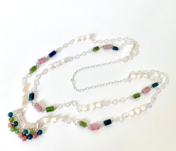 DOUBLE LAYER SILVER GEMSTONE NECKLACE