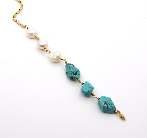 LONG TURQUOISE GEMSTONE AND PEARL HANDMADE NECKLACE