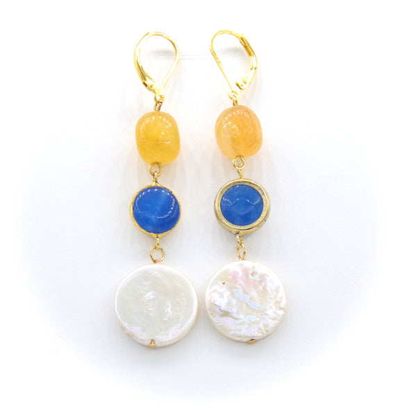 BLUE AGATE JADE GEMSTONE AND PEARL GOLD HANDMADE EARRINGS